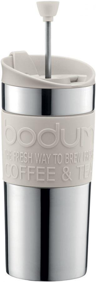 Bodum Travel Press matkamuki pressotoiminnolla 350 ml, valkoinen