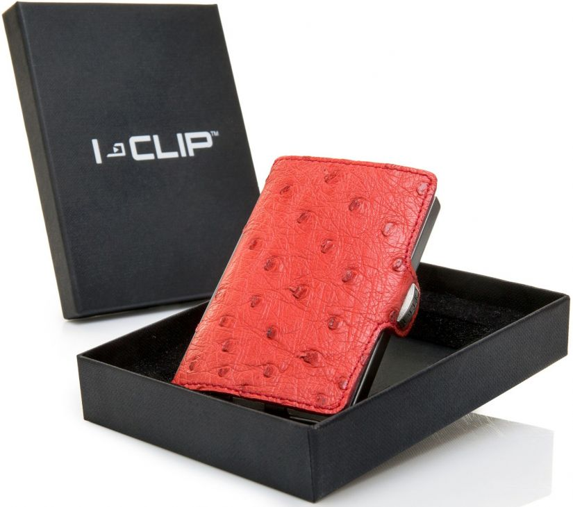 I-Clip Business Ostrich lompakko, punainen