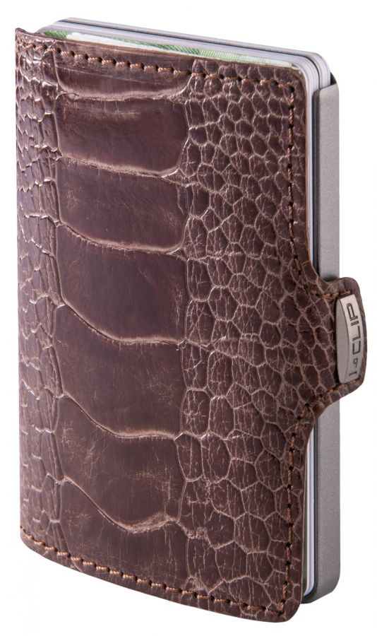 I-CLIP Superior Gentleman Ostrich Wallet, Dark Chocolate