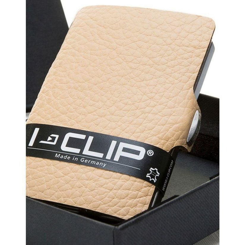 I-CLIP Pilot Leather Wallet, Cream