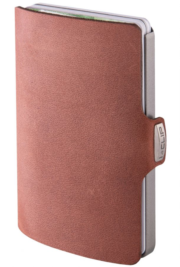 I-CLIP Soft Touch Leather Wallet, Oak