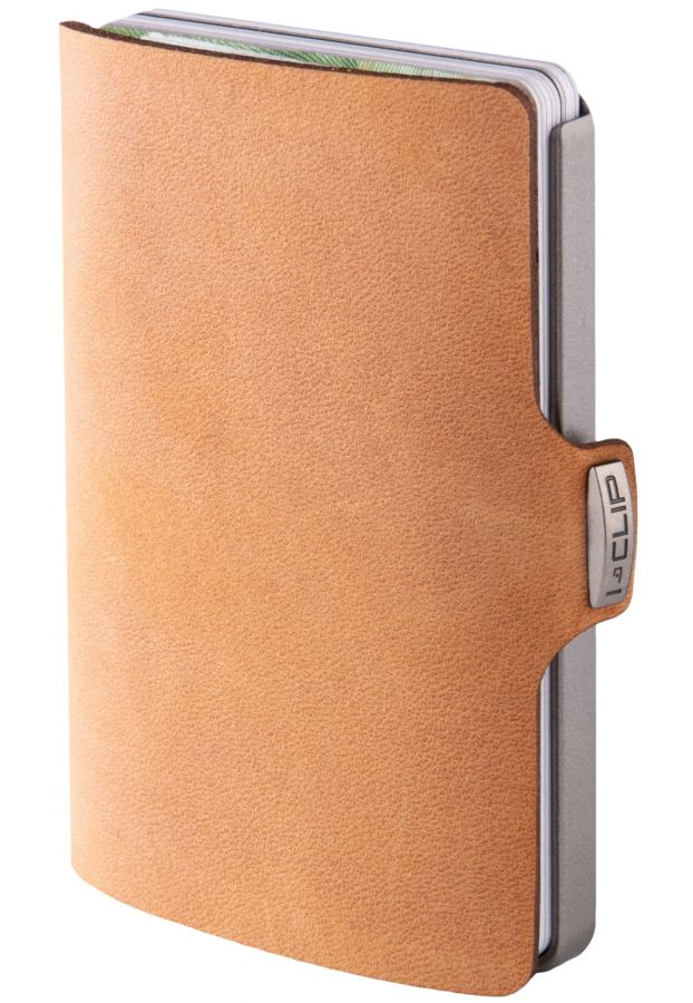 I-CLIP Soft Touch Leather Wallet, Caramel