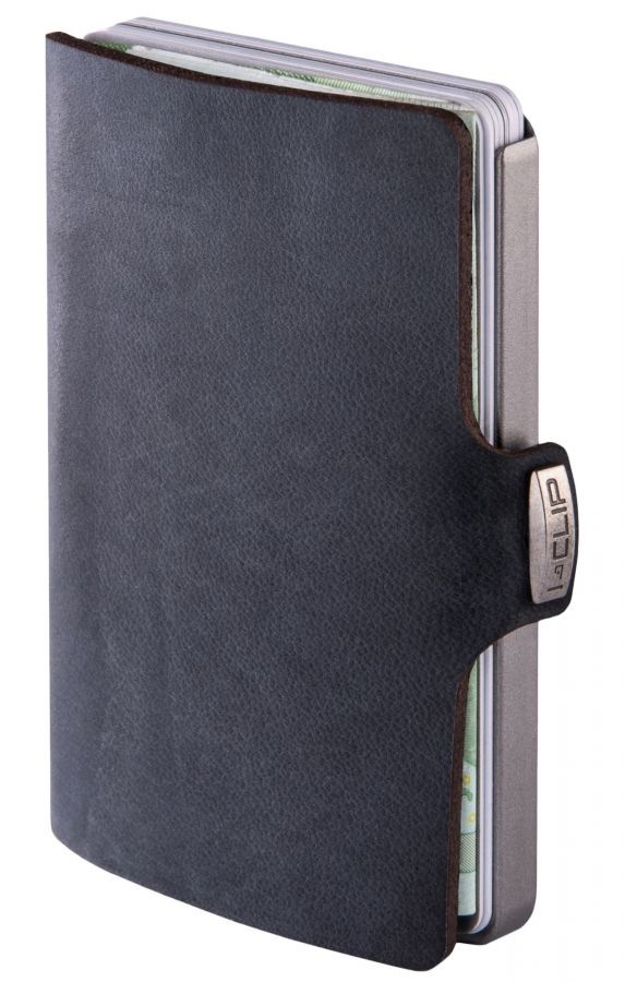 I-CLIP Soft Touch Leather Wallet, Black