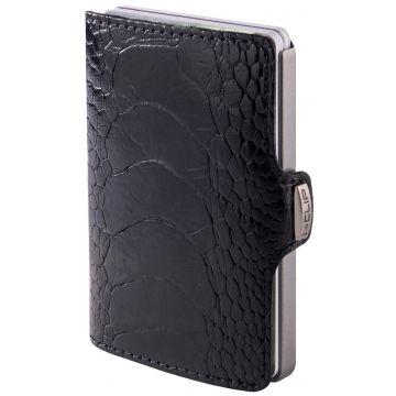 I-CLIP Superior Gentleman Ostrich Wallet, Ivory Black