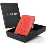 I-Clip Business Ostrich Wallet, Red