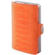 I-CLIP Superior Gentleman Ostrich Wallet, Orange Coral