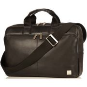 "Knomo NEWBURY Full Leather Single Zip Brief Bag 15"", black"
